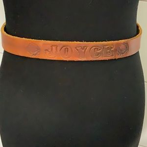 Leather tooled belt * Joyce* solid brass buckle